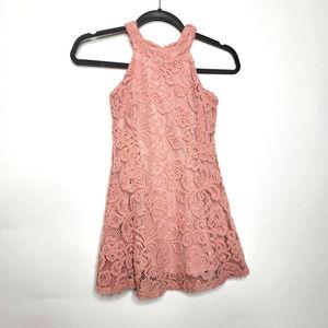 Pink Crush Sleeveless Lace Dress Pink 6X